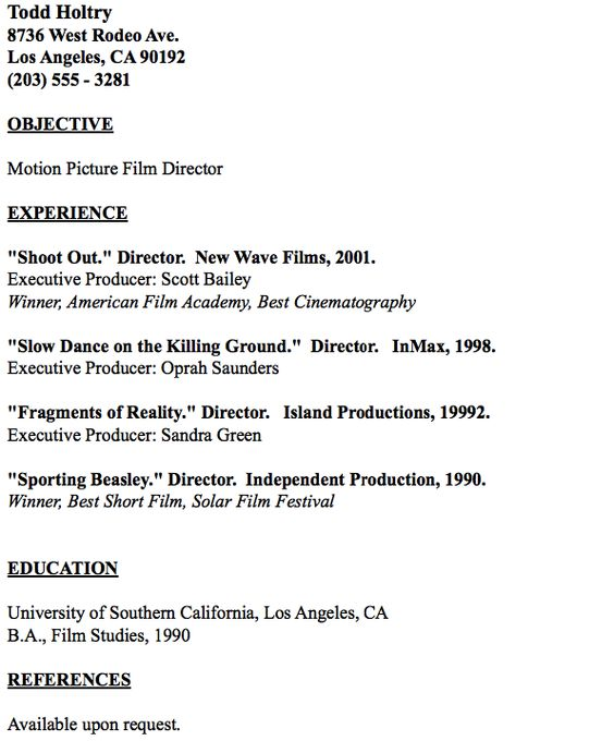 Example of FIlm Editor Resume - http\/\/resumesdesign\/example - film production resume