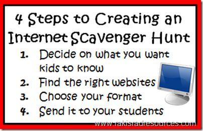 Internet scavenger hunts are a great way for students to preview or review knowledge while exploring quality websites about a topic.  Raki's Rad Resources