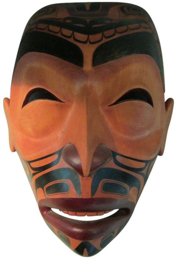 "Terry Starr (Tsimshian Nation, Canada, b. 1951), ""Tattooed Warrior"" (Sea Monster), alderwood Tsimshian mask, 1990, signed"
