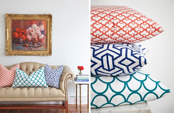 Bright pillows with a boring beige sofa
