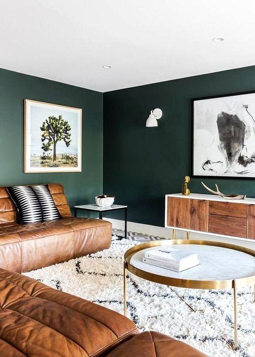 Moody Darkish Inexperienced Accent Wall Concepts In 2021 Living Room Green Dark Green Living Room Green Walls Living Room