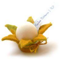 Eier Becher blümchen , gefilzt! einfach schnell niedlich bunt selbstgemacht