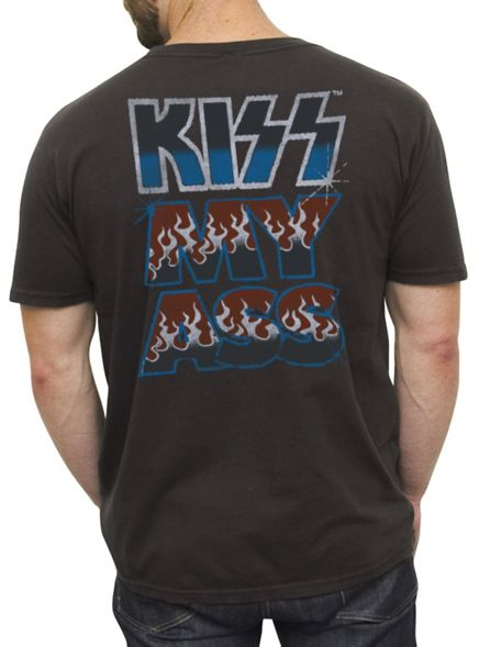 Junk Food Clothing - Men's Collections - Rock & Roll - Kiss - Kiss My Ass Vintage Inspired Solid Tee back hit!  I SO WANT THIS ! ♥