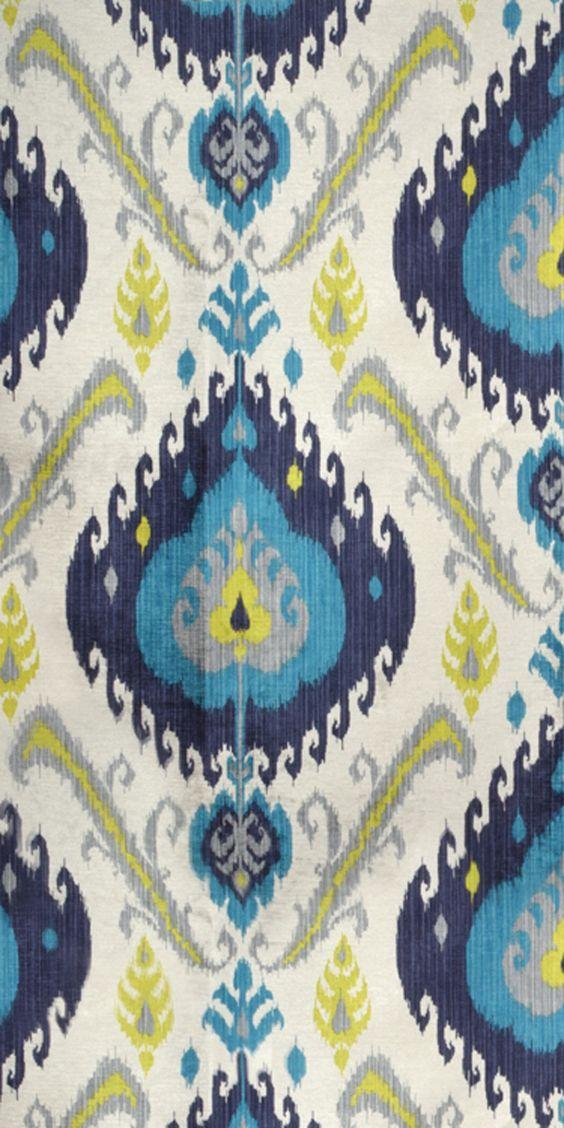 P Kaufmann Samarkand Peacock Fabric Turquoise Yellow