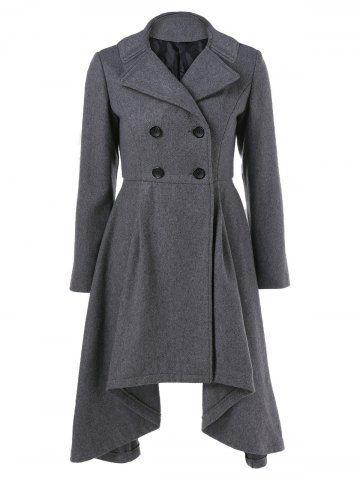 Double-Breasted Asymmetrical Woolen Coat