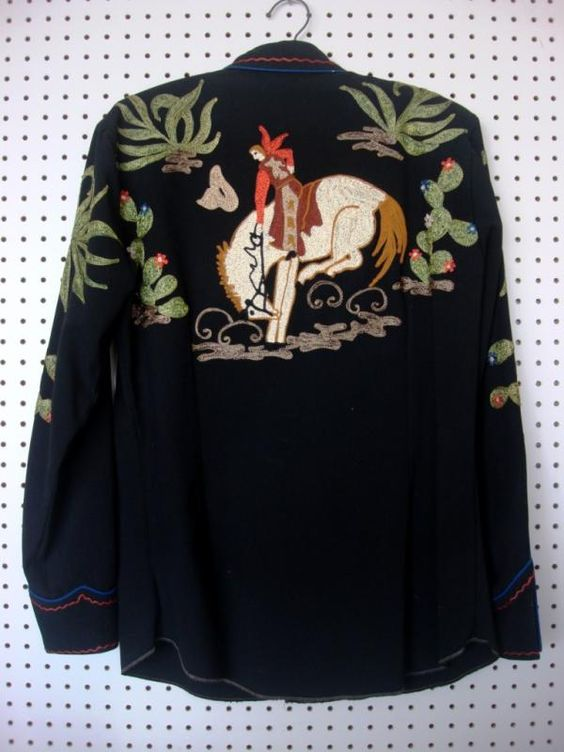 Nathan Turk late 40s early 50s western shirt - rear - cowboy on bucking bronco embroidery: