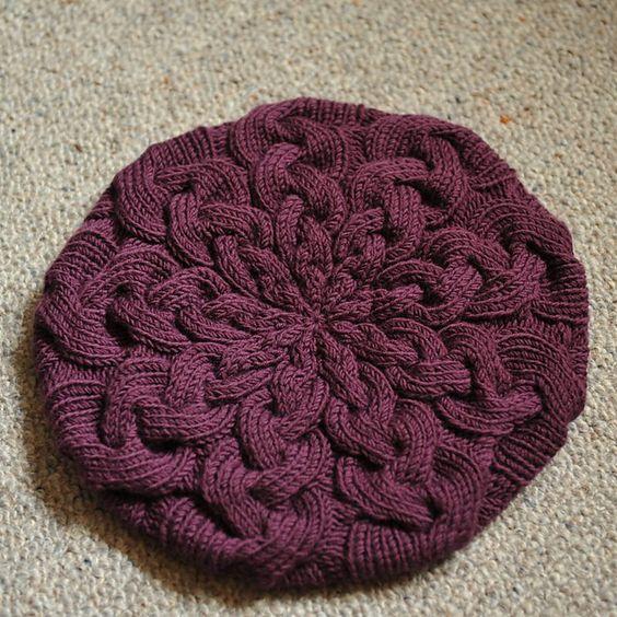 knitting: Knit Beret Pattern, Owl Knitting Pattern, Cabled Hat Pattern, Dwindling Cable, Cable Knit Hat Pattern