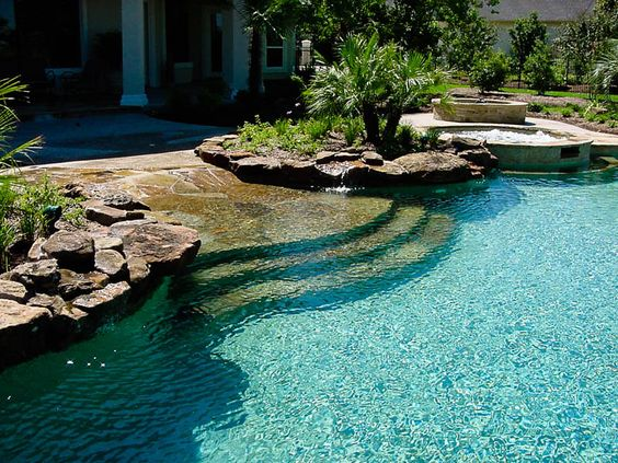 If i install a pool, I want it to look like this | Beach Entry Swimming Pools - Cypress Custom Pools