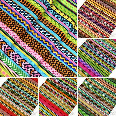 INDIAN-TRIBES-AFRICAN-FOLK-ETHNIC-TRIBAL-ZIG-ZAG-STRIPE-Cotton-Fabric-VK29-by-FQ