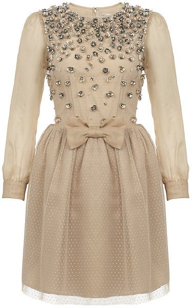 RED VALENTINO Crystal Flower Appliqué Dress - Lyst: