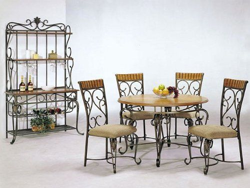 5 Pc Metal And Wood Dining Table Set In Oak Finish Metal Dining Room Round Kitchen Table Set Metal Dining Chairs