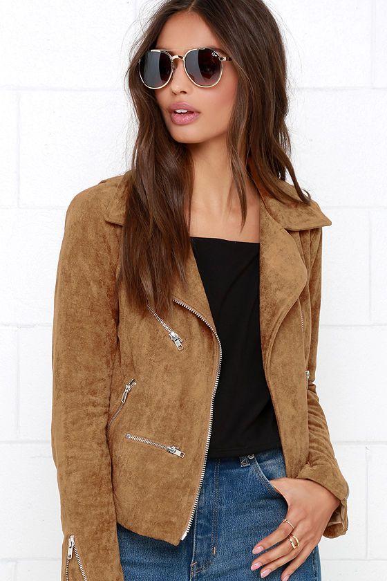 Suede with Love Tan Suede Moto Jacket http://www.modandretro.com