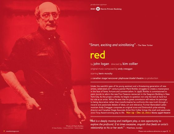 Canadian Stage 11.12 Season Brochure, Red. Photo © Kate Rothko – Hulton Archive –Getty Images.