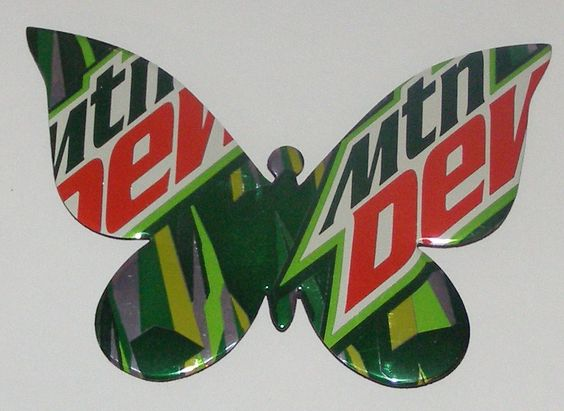 "Butterfly - Mountain Dew Soda Can Magnet, 4-3/4"" x 3-1/4""... 4.00, via Etsy. {Here's one way to get my Dew buzz, lol!}"