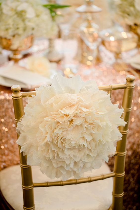 Glamorous rose gold wedding ideas receptions wedding for Decorating chairs for wedding reception