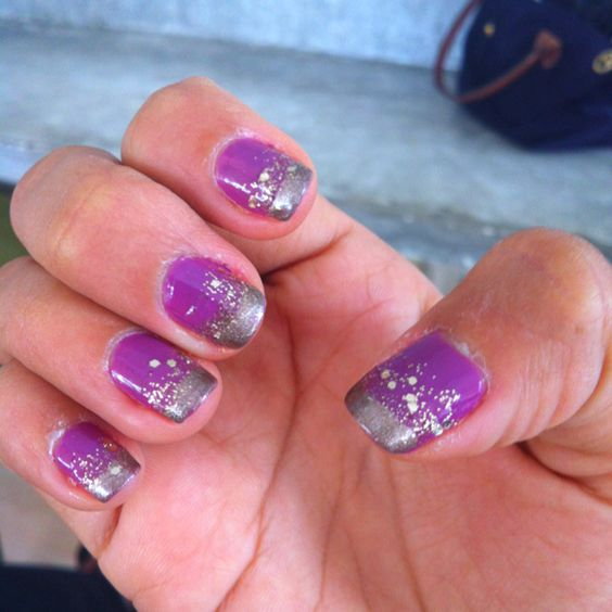 Purple nails with gold sparkles