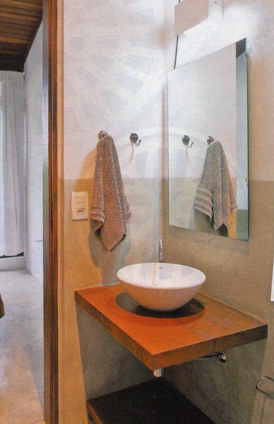 Acabamento no banheiro, nas paredes cimento queimado Pia de madeira e cuba d -> Pia De Banheiro Sobrepor