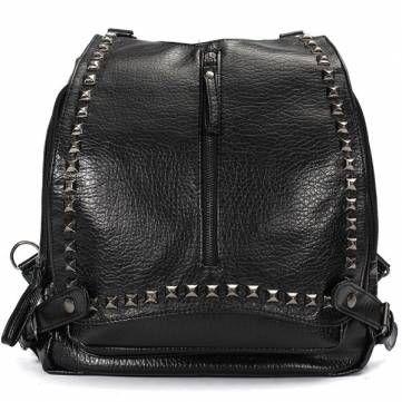Women Fashion Leather Trendy Rivet Backpack