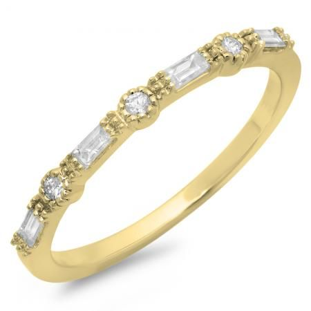 0.25 Carat (ctw) 18K Yellow Gold Round & Baguette Cut Diamond Ladies Millgrain Anniversary Wedding Band 1/4 CT - Dazzling Rock