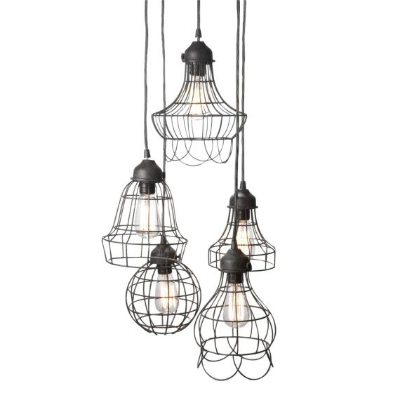 Industrial wire pendant lamps - a bit of a steampunk vibe.