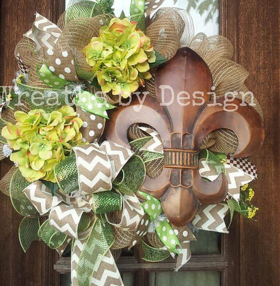 Fleur De lis Spring/Summer Wreath by WreathsbyDesign1 on Etsy, $80.00