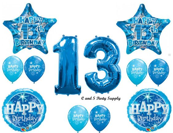 Blue 13th happy birthday party balloons decorations for 13th birthday decoration ideas