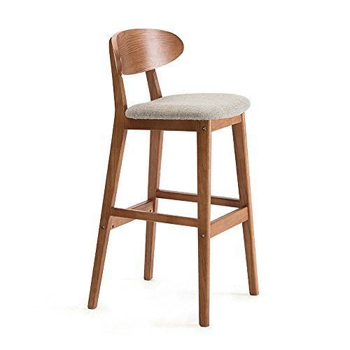 Bjl Bar Stools Solid Wood Bar Chair European Minimalist Retro Curved With Backrest Creative Bar Stoo With Images Retro Bar Stools Upholstered Bar Stools Wooden Bar Stools