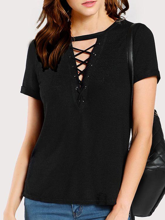 V Neck Lace Up Plain Short Sleeve T-Shirts