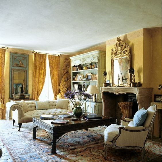 attractive living room of traditional french country home   French living room   French Country Inspirations ...
