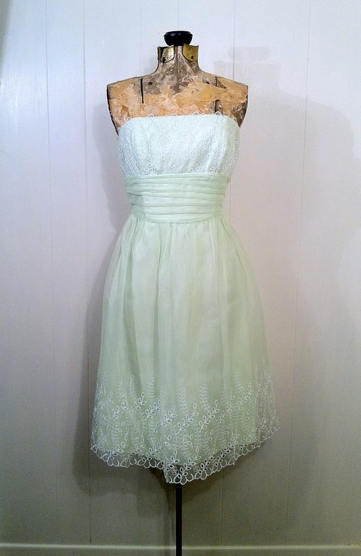 Green Chiffon Strapless Dress