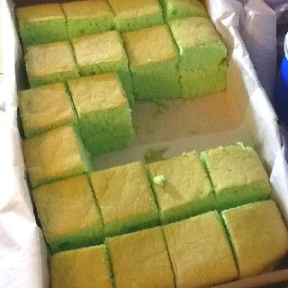 Pandan flavored sponge cake. Light and airy.