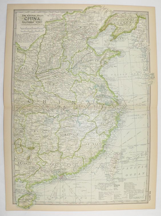 1899 Vintage Map of China Eastern China Map Hong Kong Antique – Travel Maps For Sale