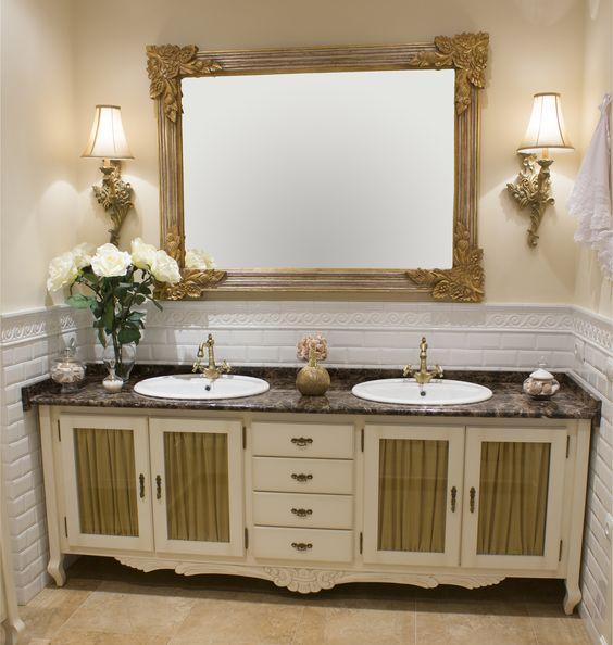 Muebles De Baño Dos Senos:Mueble de baño blanco envejecido, de dos senos, cuatro puertas