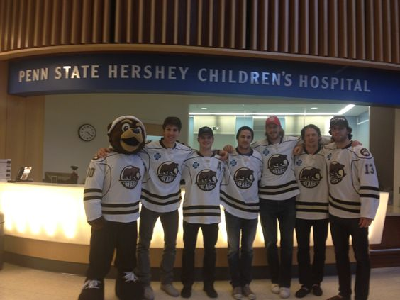 Hershey Bears players Joel Rechlicz, Garrett Mitchell, Nicolas Deshamps, John Mitchell, Cameron Schilling, and Josh Brittain joined Coco the Bear at Penn State Hershey Children's Hospital on December 4, 2013 to visit patients.