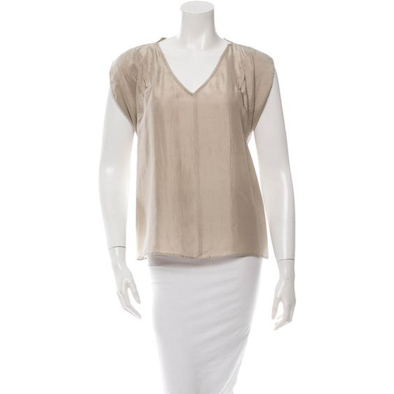 Pre-owned Derek Lam Silk Top ($50) ❤ liked on Polyvore featuring tops, neutrals, derek lam, silk top, silk sleeveless top, sleeveless tops and v-neck tops
