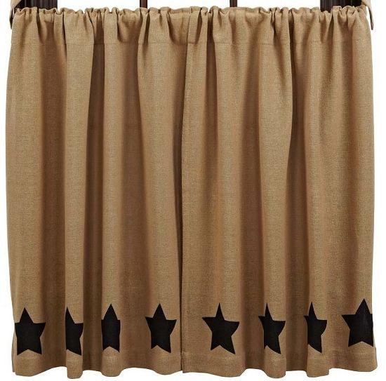 Burlap Natural Black Stencil Star Tier Curtains 36