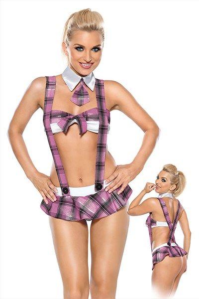 Minirok schoolmeisjesuniform met bretels   Willie.nl Dit schoolmeisjesuniform heeft een minirok met daar aan vast twee mooie bretels die elkaar aan de achterzijde kruisen. De bh heeft dezelfde stijl als het rokje en heeft een strik tussen de borsten. De witte kraag met mini das maakt het outfit compleet.: