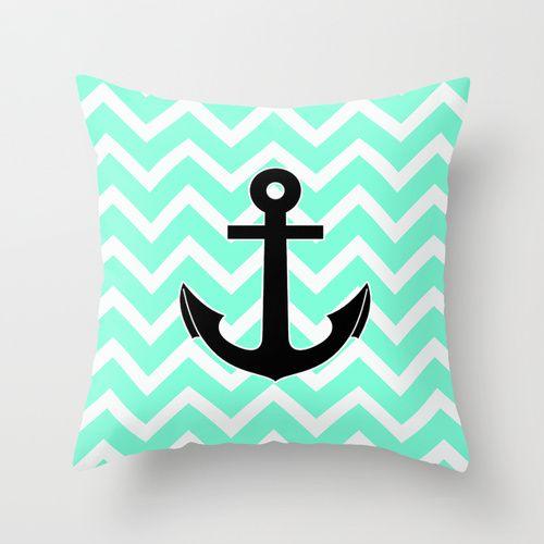 chevron anchor pillow | Tiffany Chevron Anchor Throw Pillow by RexLambo | Society6