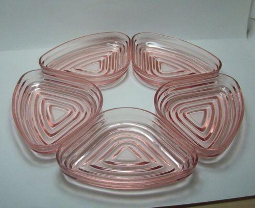 Manhattan Pink Depression Glass Set of 5 Relish Tray Inserts $28