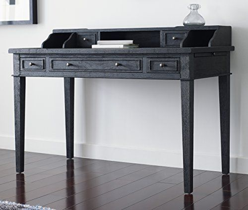 Tommy Hilfiger Catalana Writing Desk With Five Drawers And Open Workspace In Drifted Matte Black Oak Living Room Table Luxury Desk Plum Living Rooms
