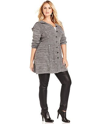Plus Size Sweater, Long,Sleeve Hooded Marled Tunic , Plus Size Sweaters