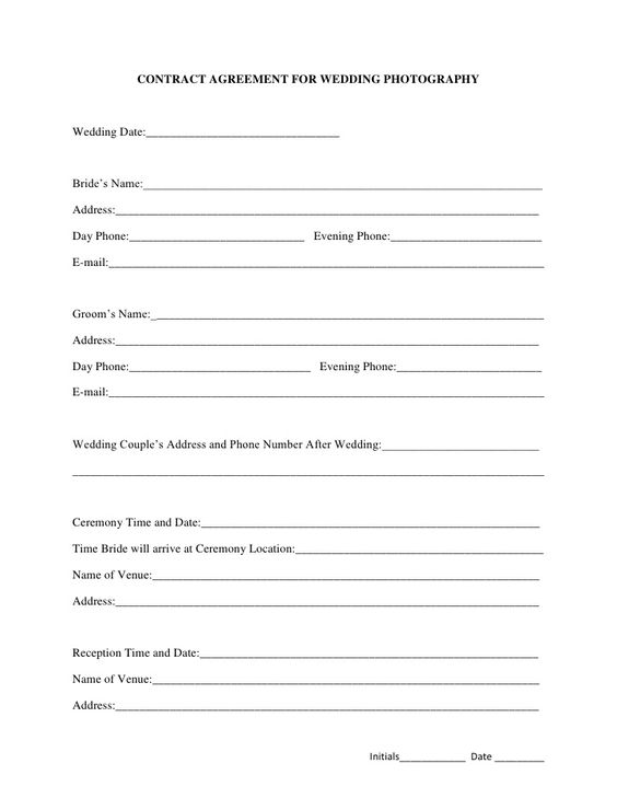 Printable Sample Wedding Photography Contract Template Form Free - assignment agreement template
