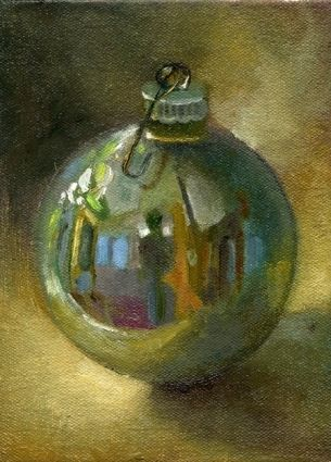 Silver Christmas Ornament, painting by artist Hall Groat II