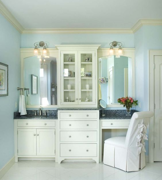 Elegant White Master Bedrooms: Elegant Master Bath With Seating Area. Cabinetry Is