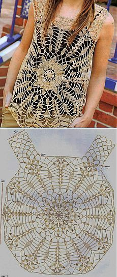 Crochet top with diagram: