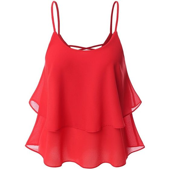 SJSP Womens Sleeveless Loose Fit Strap Loose Fit Tank Top Style Blouse (¥1,555) ❤ liked on Polyvore featuring tops, shirts, tank tops, loose fitting tank tops, strappy tank, red tank, red top and loose fit tank tops