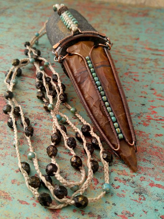 Warrior Spirit Lariat Necklace, Copper Wire Wrapped Arrowhead, Reversible Pendant, Statement Necklace, Door 44 Original, Made in Colorado by Door44Jewelry on Etsy