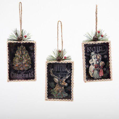 Chalkboard Shadow Box Ornaments Christmas