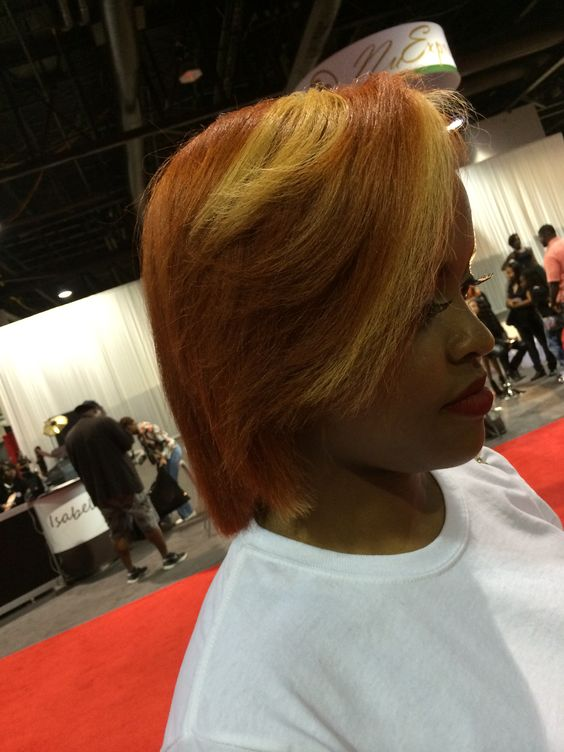 "Purely All Natural Silky Press w/Pumpkin Copper Red w/Peek-a-Boo Blonde Chunk,, styled ""Sleeky Bone Straight"""