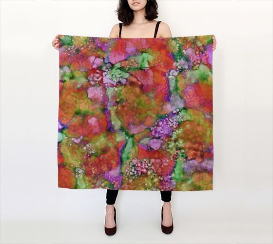 In The Beginning, Blood Orange - Silk Scarf, Large Square, 36x36